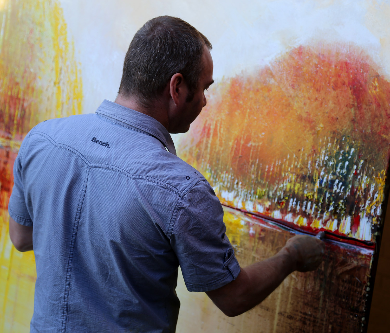 Peter Hill Working on an Oversize Canvas